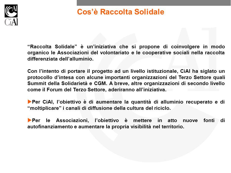Raccolta Solidale è un'iniziativa che si propone di coinvolgere in modo organico le Associazioni del volontariato e le cooperative sociali nella raccolta differenziata dell'alluminio.