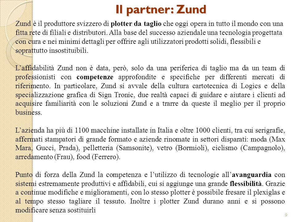 Il partner: Zund 9 Zund è il produttore svizzero di plotter da taglio che oggi opera in tutto il mondo con una fitta rete di filiali e distributori. A