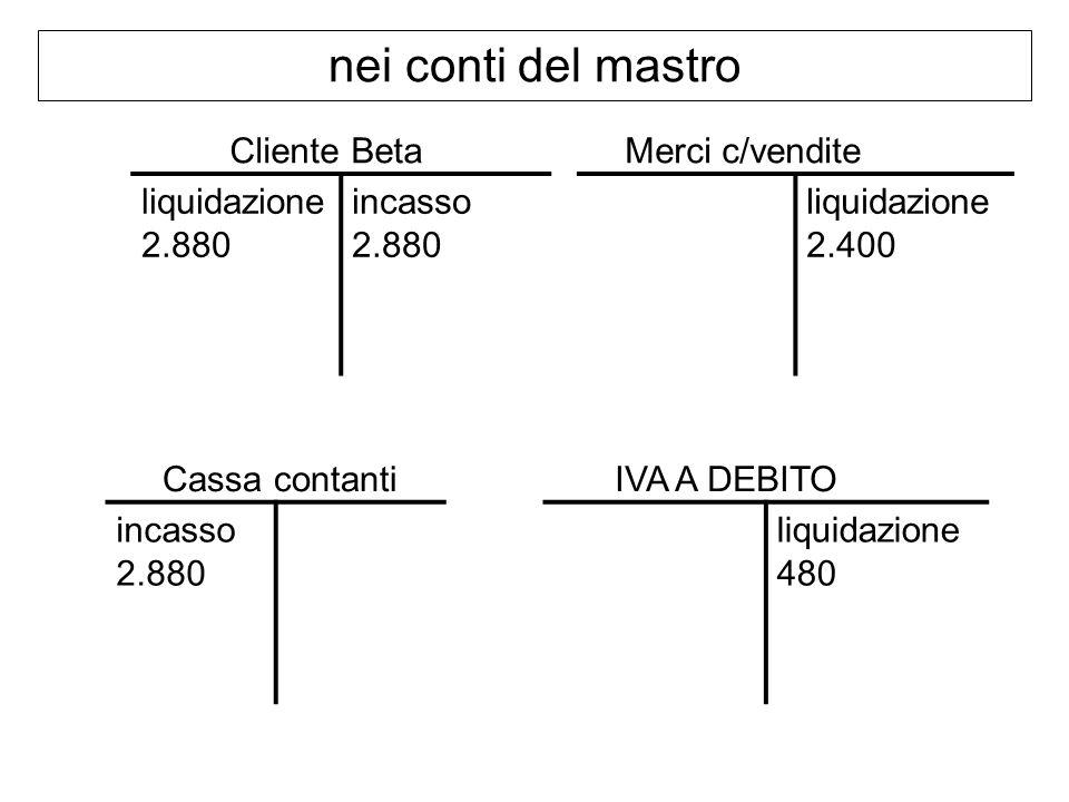 nei conti del mastro liquidazione 2.880 incasso 2.880 Cliente Beta liquidazione 2.400 Merci c/vendite incasso 2.880 Cassa contantiIVA A DEBITO liquidazione 480