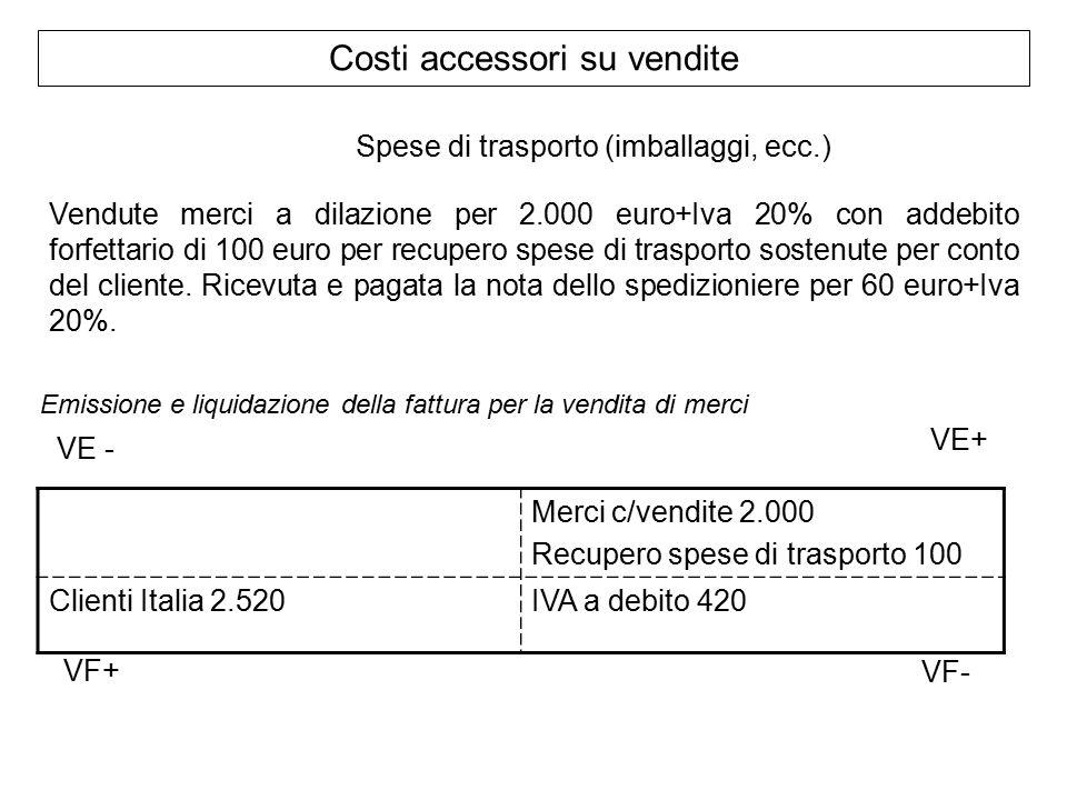 Costi accessori su vendite Vendute merci a dilazione per 2.000 euro+Iva 20% con addebito forfettario di 100 euro per recupero spese di trasporto sostenute per conto del cliente.