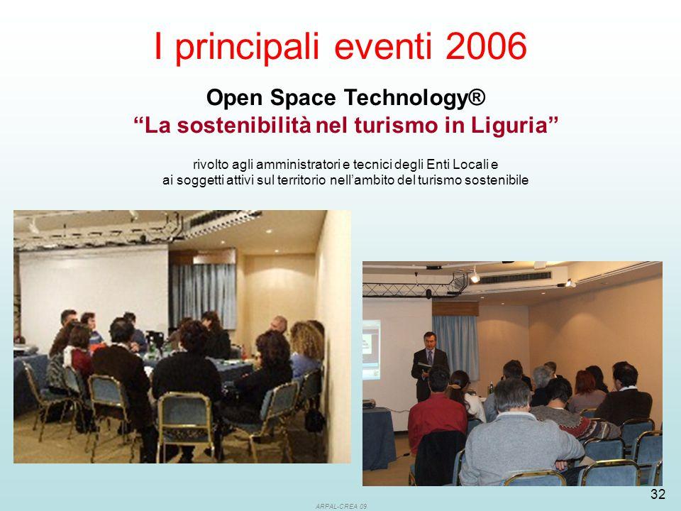 ARPAL-CREA 09 32 I principali eventi 2006 Open Space Technology® La sostenibilità nel turismo in Liguria rivolto agli amministratori e tecnici degli Enti Locali e ai soggetti attivi sul territorio nell'ambito del turismo sostenibile