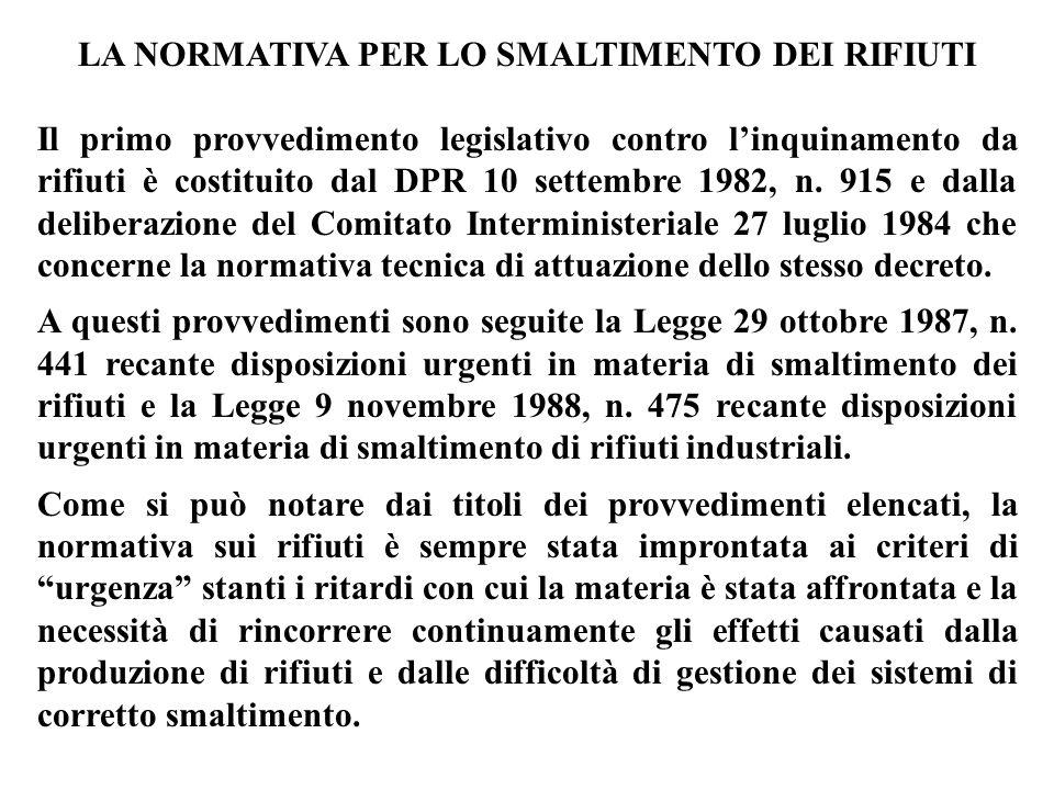 LA NORMATIVA PER LO SMALTIMENTO DEI RIFIUTI Il primo provvedimento legislativo contro l'inquinamento da rifiuti è costituito dal DPR 10 settembre 1982