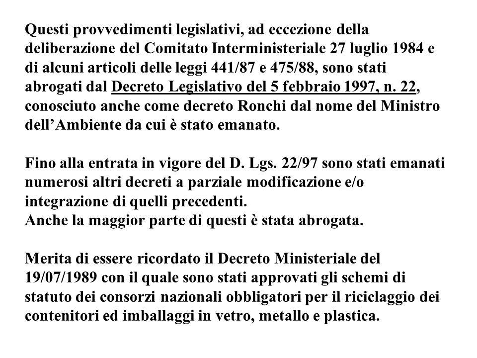 Questi provvedimenti legislativi, ad eccezione della deliberazione del Comitato Interministeriale 27 luglio 1984 e di alcuni articoli delle leggi 441/