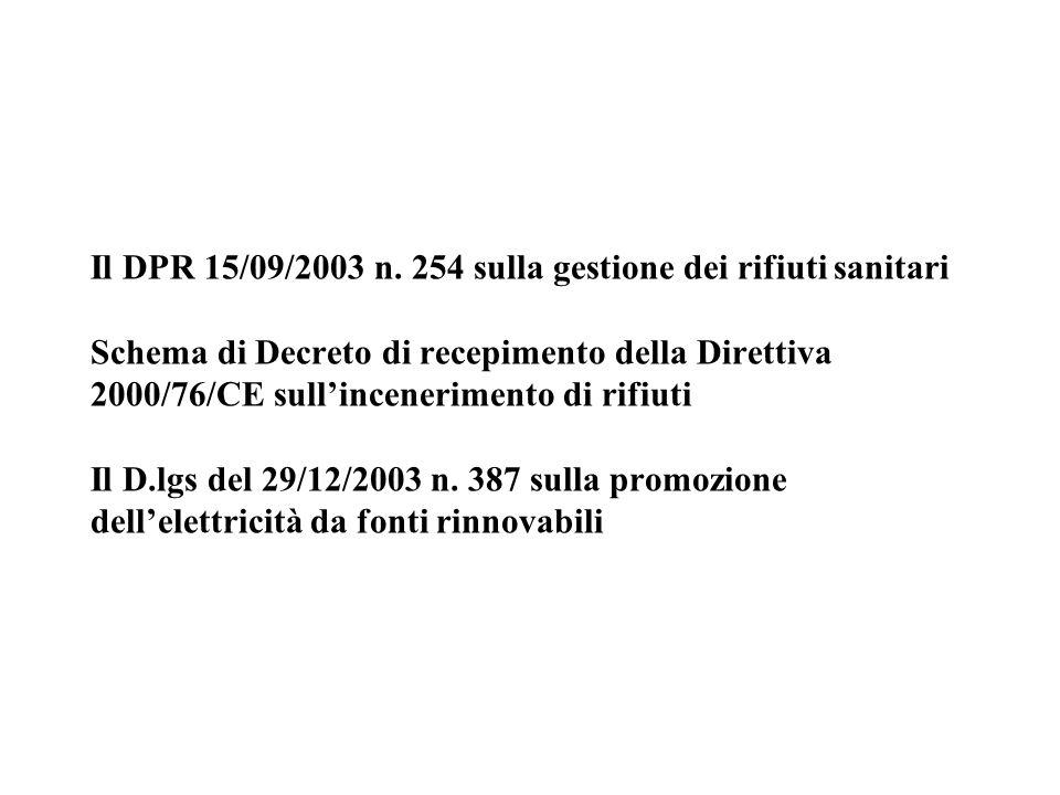 Il DPR 15/09/2003 n. 254 sulla gestione dei rifiuti sanitari Schema di Decreto di recepimento della Direttiva 2000/76/CE sull'incenerimento di rifiuti