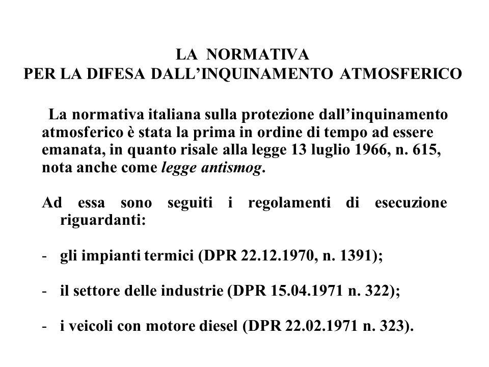 LA NORMATIVA PER LA DIFESA DALL'INQUINAMENTO ATMOSFERICO La normativa italiana sulla protezione dall'inquinamento atmosferico è stata la prima in ordi