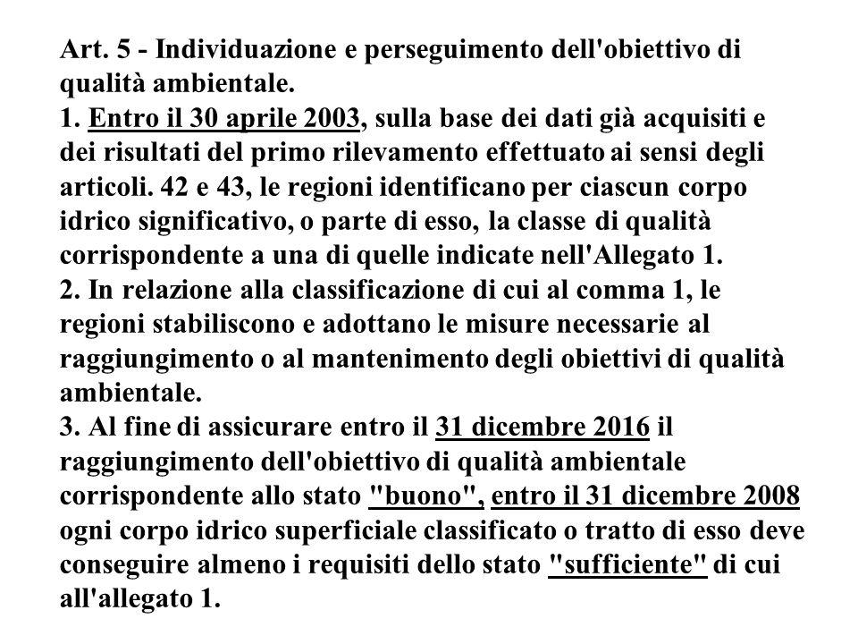 Art. 5 - Individuazione e perseguimento dell'obiettivo di qualità ambientale. 1. Entro il 30 aprile 2003, sulla base dei dati già acquisiti e dei risu