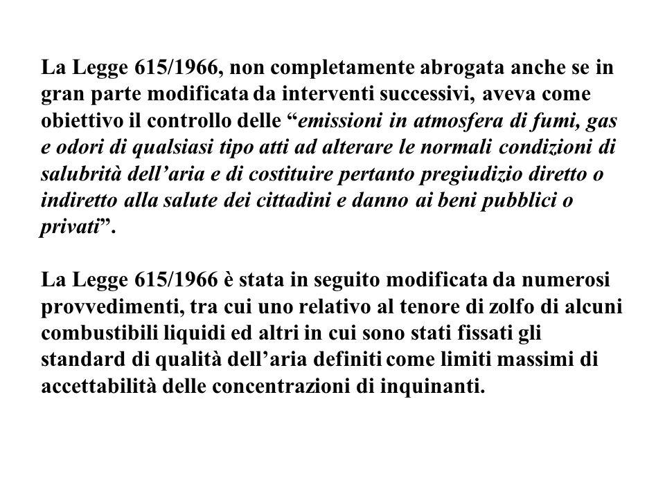 """La Legge 615/1966, non completamente abrogata anche se in gran parte modificata da interventi successivi, aveva come obiettivo il controllo delle """"emi"""