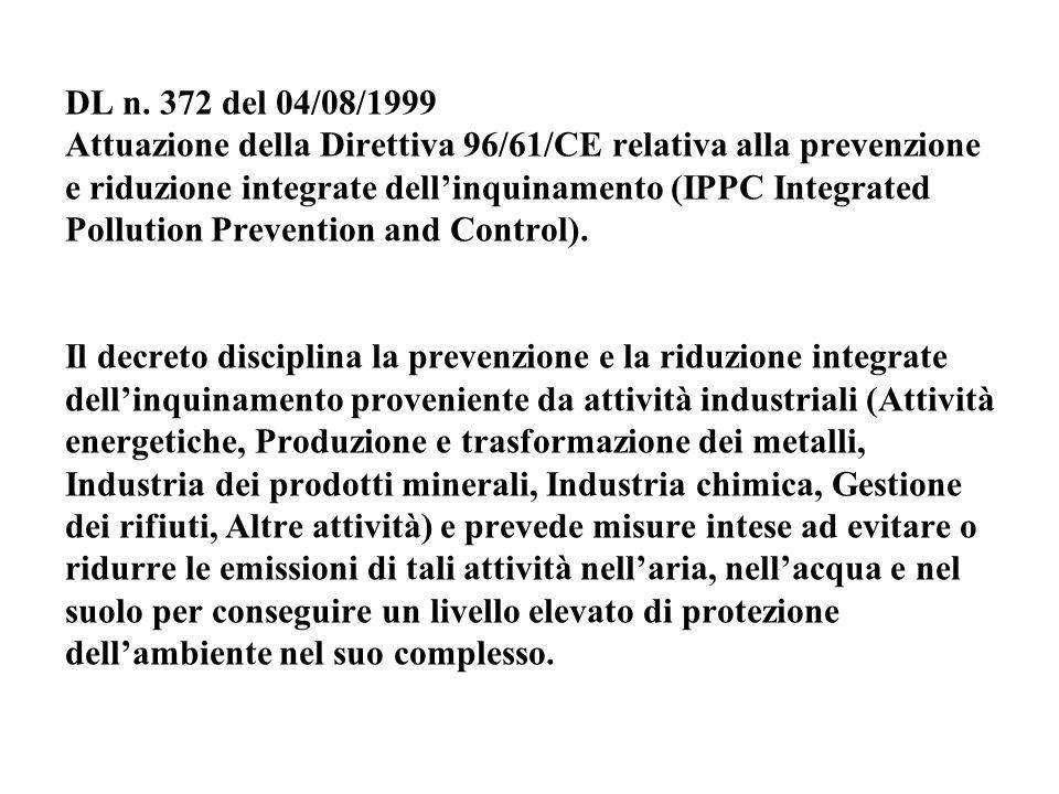 DL n. 372 del 04/08/1999 Attuazione della Direttiva 96/61/CE relativa alla prevenzione e riduzione integrate dell'inquinamento (IPPC Integrated Pollut