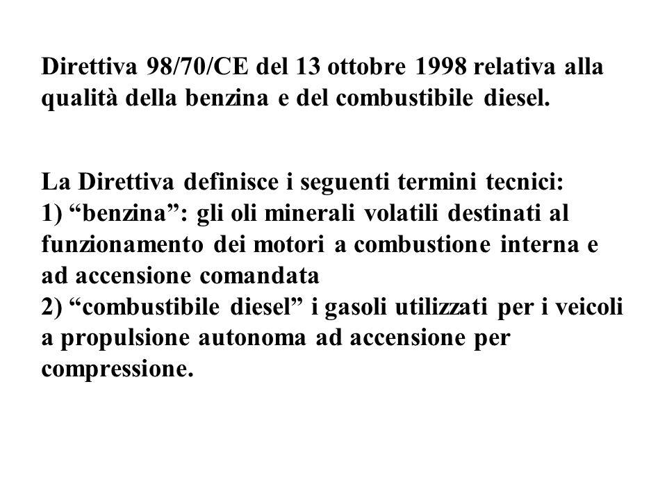 Direttiva 98/70/CE del 13 ottobre 1998 relativa alla qualità della benzina e del combustibile diesel (segue) La Direttiva, all'art.