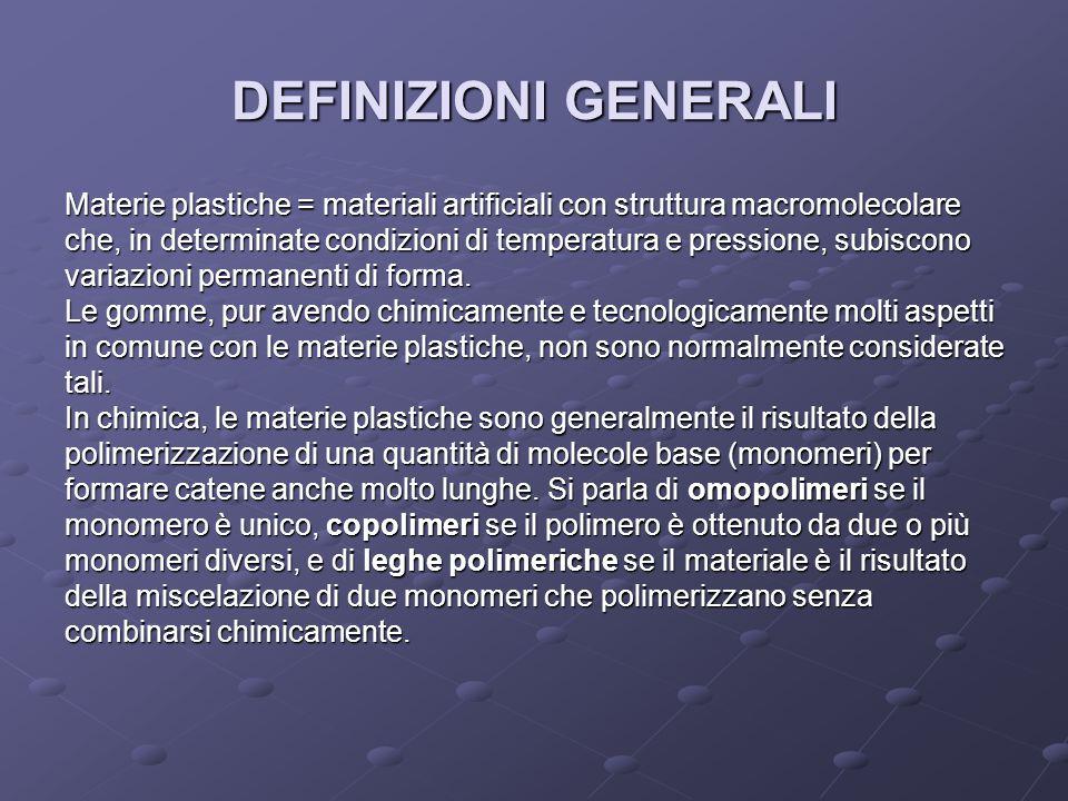 DEFINIZIONI GENERALI Materie plastiche = materiali artificiali con struttura macromolecolare che, in determinate condizioni di temperatura e pressione