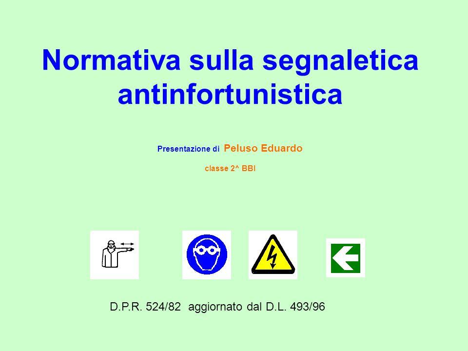 Normativa sulla segnaletica antinfortunistica Presentazione di Peluso Eduardo classe 2^ BBI D.P.R.