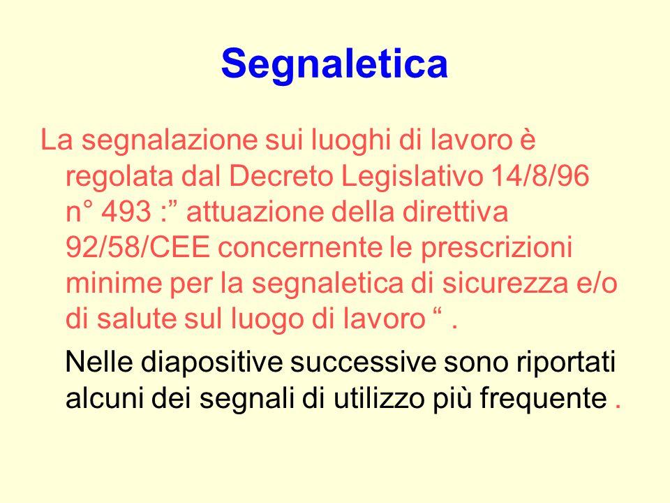 Segnaletica La segnalazione sui luoghi di lavoro è regolata dal Decreto Legislativo 14/8/96 n° 493 : attuazione della direttiva 92/58/CEE concernente le prescrizioni minime per la segnaletica di sicurezza e/o di salute sul luogo di lavoro .