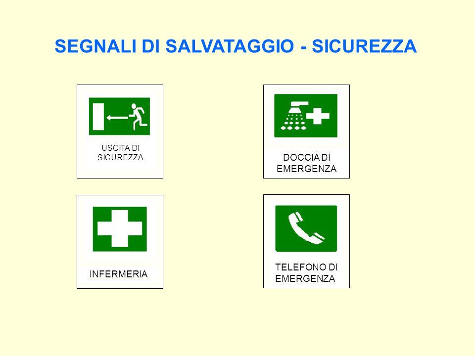 SEGNALI DI SALVATAGGIO - SICUREZZA USCITA DI SICUREZZA INFERMERIA DOCCIA DI EMERGENZA TELEFONO DI EMERGENZA
