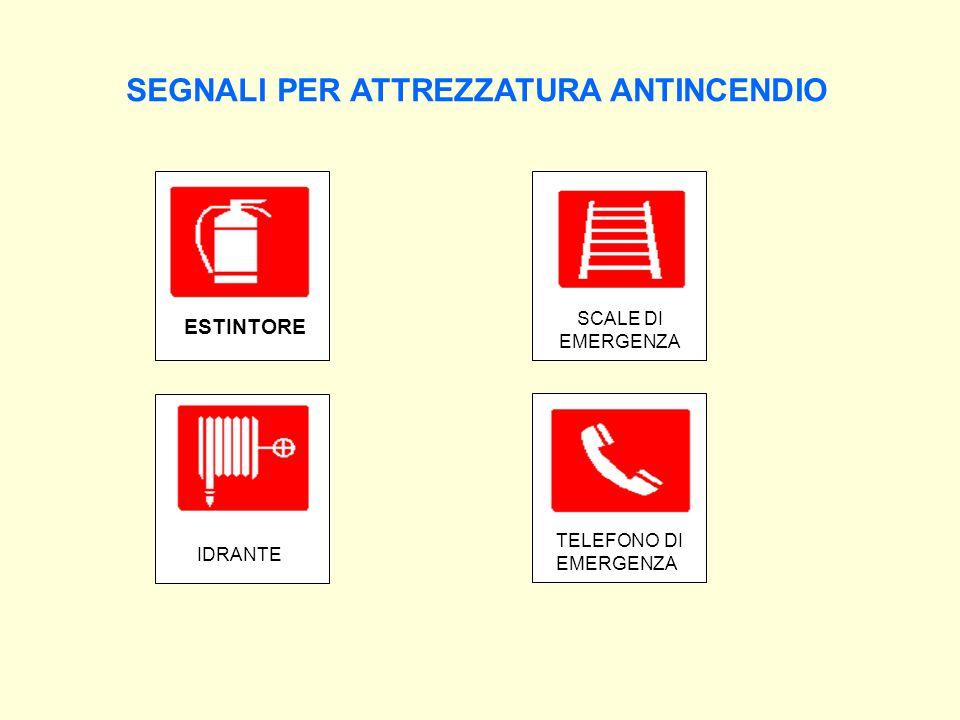 SEGNALI PER ATTREZZATURA ANTINCENDIO ESTINTORE IDRANTE SCALE DI EMERGENZA TELEFONO DI EMERGENZA