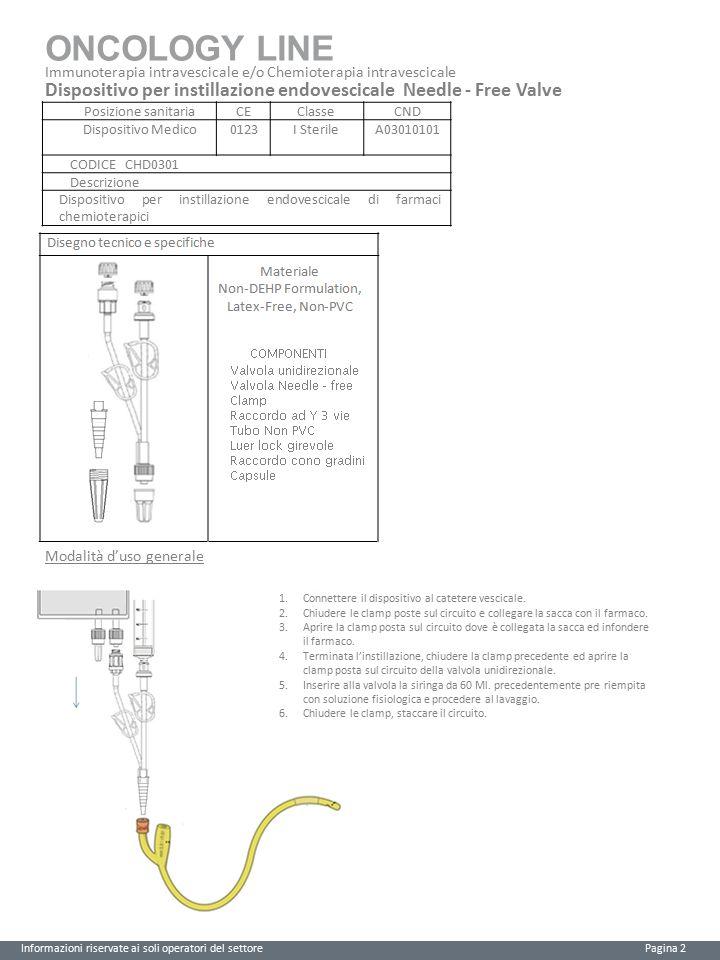 ONCOLOGY LINE Informazioni riservate ai soli operatori del settore Pagina 3 Immunoterapia intravescicale e/o Chemioterapia intravescicale Controlli Controlli eseguiti: Controllo qualità sia per i materiali che per i dispositivi.