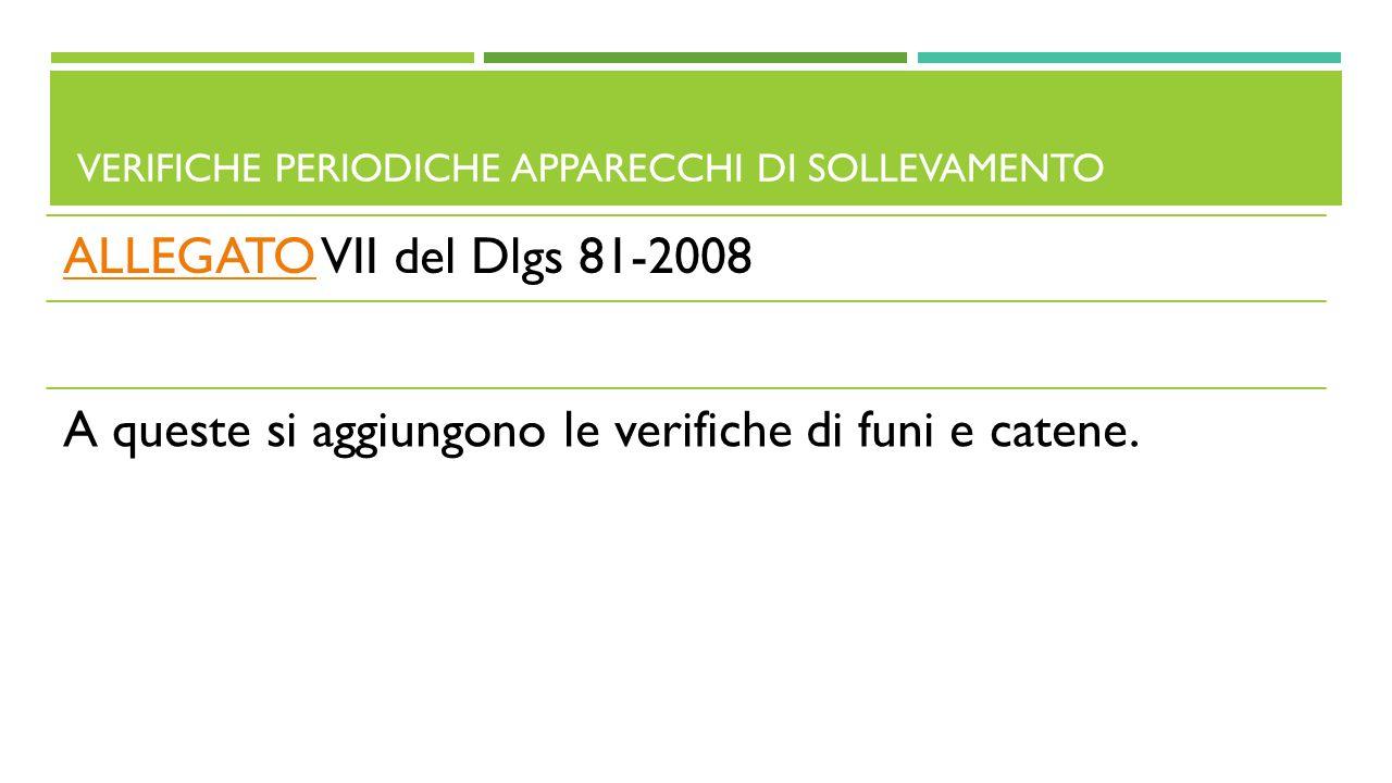 VERIFICHE PERIODICHE APPARECCHI DI SOLLEVAMENTO ALLEGATOALLEGATO VII del Dlgs 81-2008 A queste si aggiungono le verifiche di funi e catene.