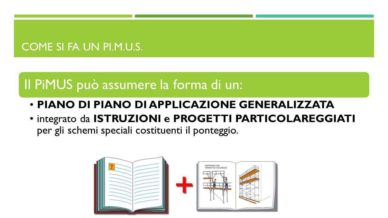 COME SI FA UN PI.M.U.S. Il PiMUS può assumere la forma di un: PIANO DI PIANO DI APPLICAZIONE GENERALIZZATA integrato da ISTRUZIONI e PROGETTI PARTICOL
