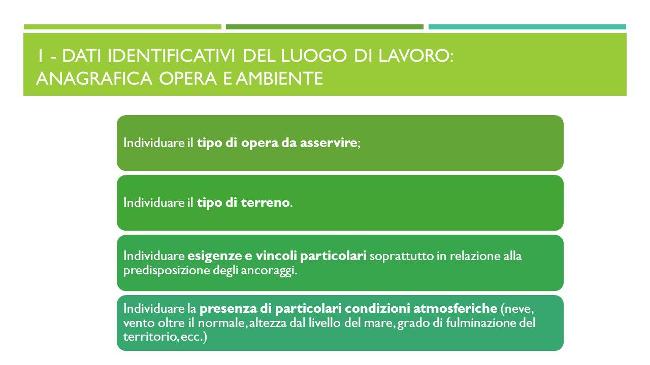 1 - DATI IDENTIFICATIVI DEL LUOGO DI LAVORO: ANAGRAFICA OPERA E AMBIENTE Individuare il tipo di opera da asservire;Individuare il tipo di terreno. Ind