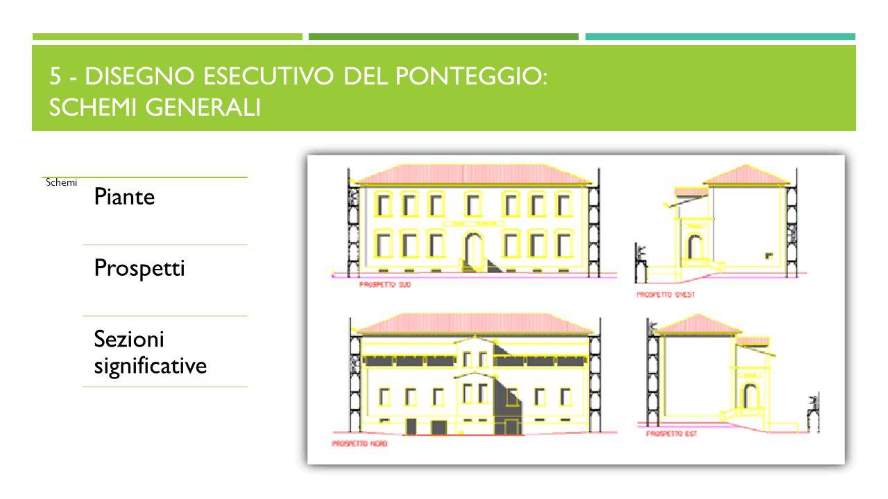5 - DISEGNO ESECUTIVO DEL PONTEGGIO: SCHEMI GENERALI Schemi Piante Prospetti Sezioni significative