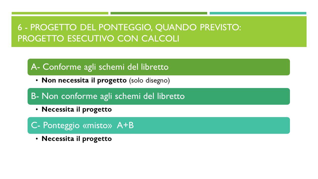 6 - PROGETTO DEL PONTEGGIO, QUANDO PREVISTO: PROGETTO ESECUTIVO CON CALCOLI A- Conforme agli schemi del libretto Non necessita il progetto (solo diseg