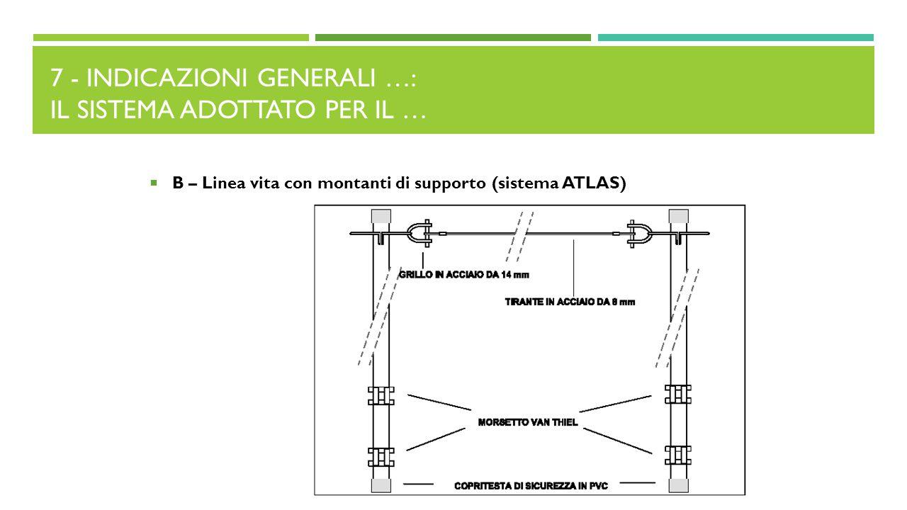 7 - INDICAZIONI GENERALI …: IL SISTEMA ADOTTATO PER IL …  B – Linea vita con montanti di supporto (sistema ATLAS)