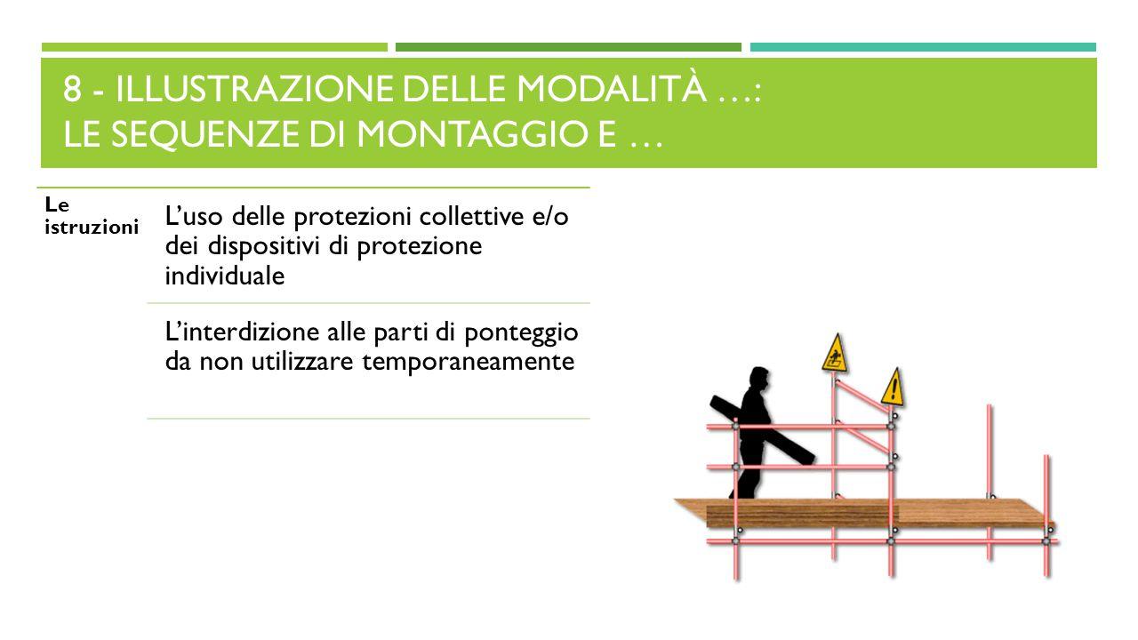 8 - ILLUSTRAZIONE DELLE MODALITÀ …: LE SEQUENZE DI MONTAGGIO E … Le istruzioni L'uso delle protezioni collettive e/o dei dispositivi di protezione ind