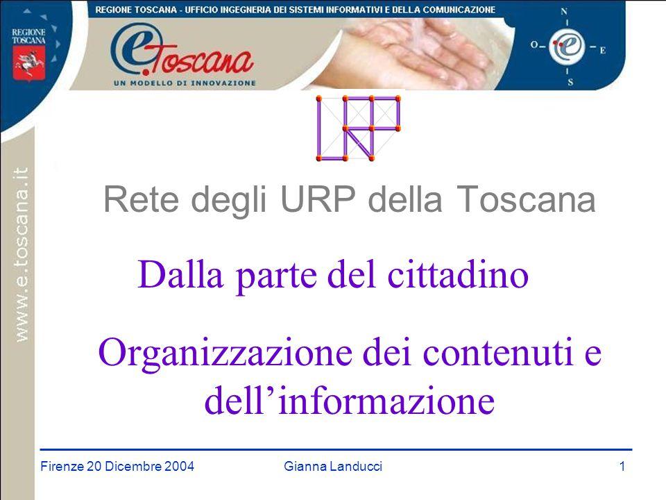 Firenze 20 Dicembre 2004Gianna Landucci1 Rete degli URP della Toscana Dalla parte del cittadino Organizzazione dei contenuti e dell'informazione