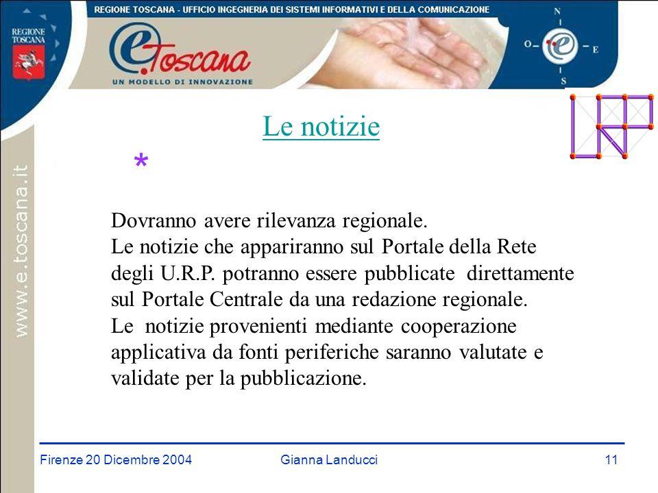 Firenze 20 Dicembre 2004Gianna Landucci11 Le notizie * Dovranno avere rilevanza regionale.