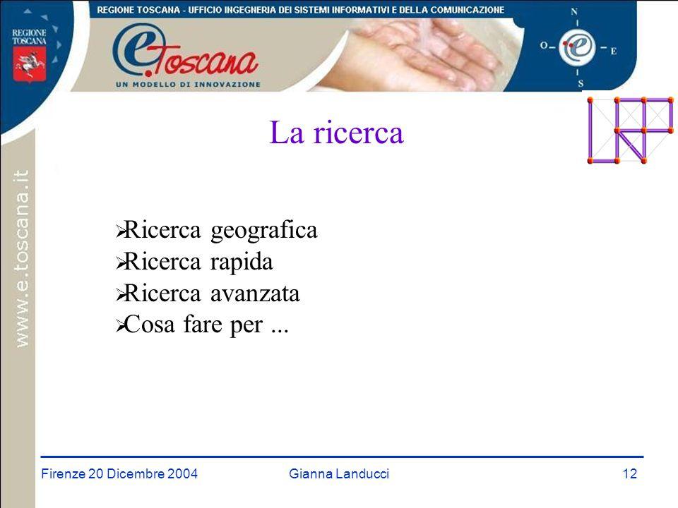 Firenze 20 Dicembre 2004Gianna Landucci12 La ricerca  Ricerca geografica  Ricerca rapida  Ricerca avanzata  Cosa fare per...