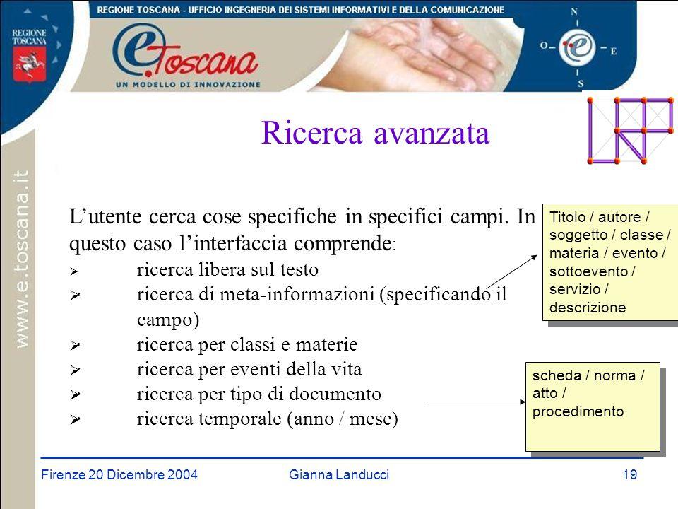 Firenze 20 Dicembre 2004Gianna Landucci19 Ricerca avanzata L'utente cerca cose specifiche in specifici campi.