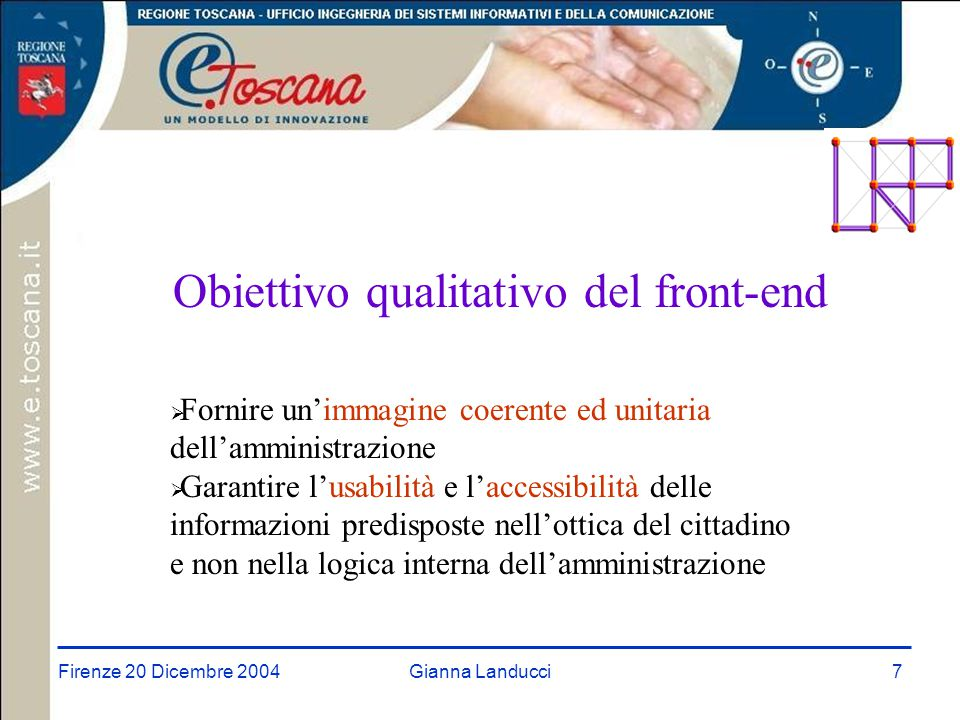 Firenze 20 Dicembre 2004Gianna Landucci8 Accesso Web nella Rete URP Toscana Il cittadino potrà accedere:  dall'Urp di diretto o immediato interesse sul Portale del singolo URP, modello di Portale URP che ogni ente potrà adottare  dal portale unificato della rete