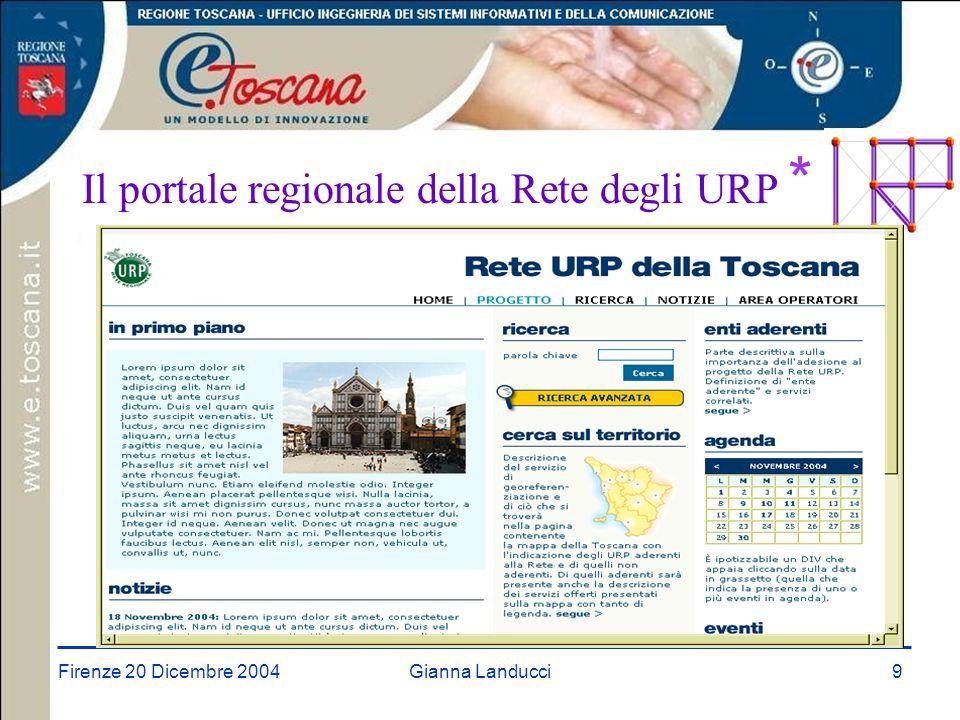 Firenze 20 Dicembre 2004Gianna Landucci9 Il portale regionale della Rete degli URP *