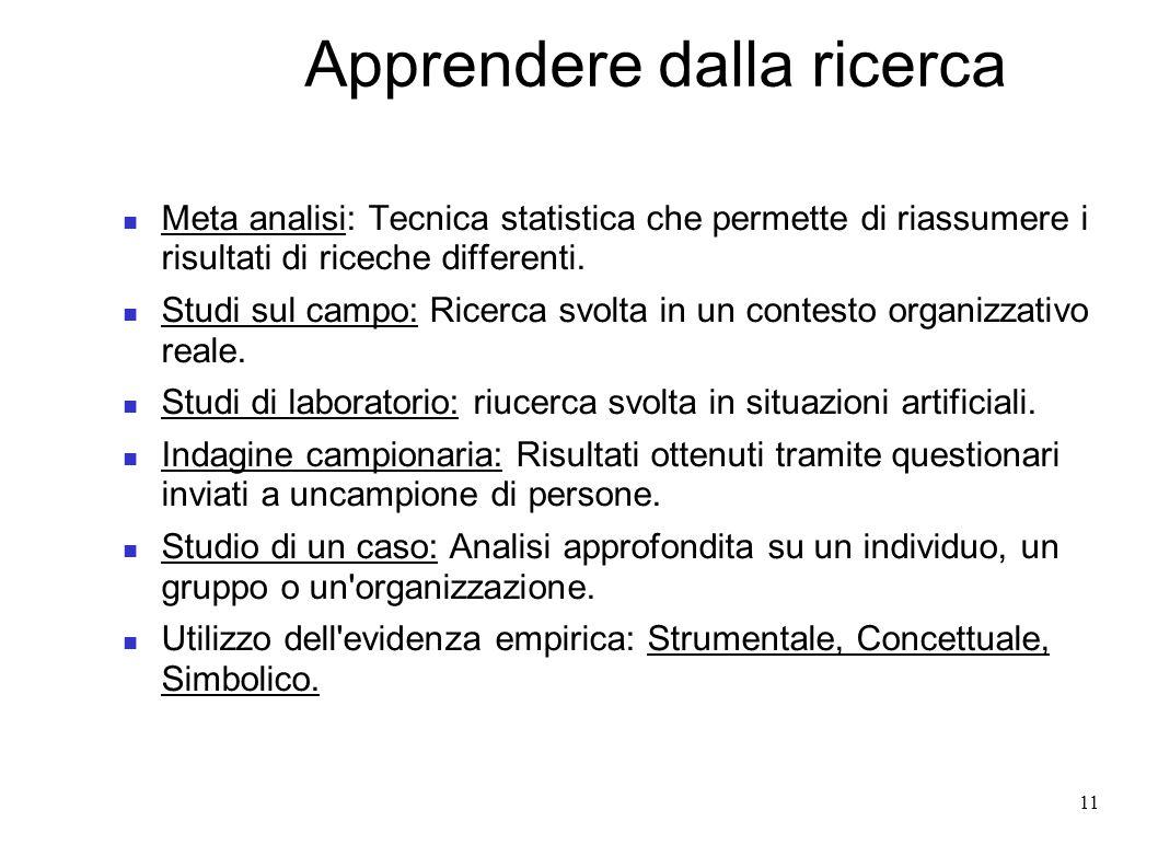 11 Apprendere dalla ricerca Meta analisi: Tecnica statistica che permette di riassumere i risultati di riceche differenti. Studi sul campo: Ricerca sv