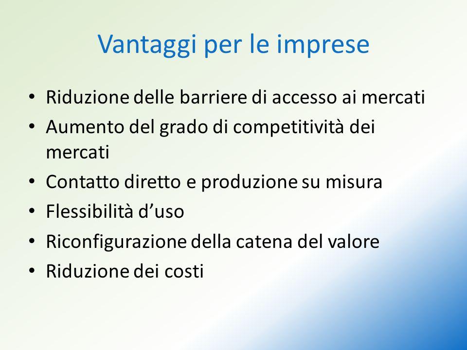 Vantaggi per le imprese Riduzione delle barriere di accesso ai mercati Aumento del grado di competitività dei mercati Contatto diretto e produzione su