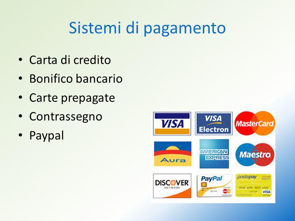 Sistemi di pagamento Carta di credito Bonifico bancario Carte prepagate Contrassegno Paypal
