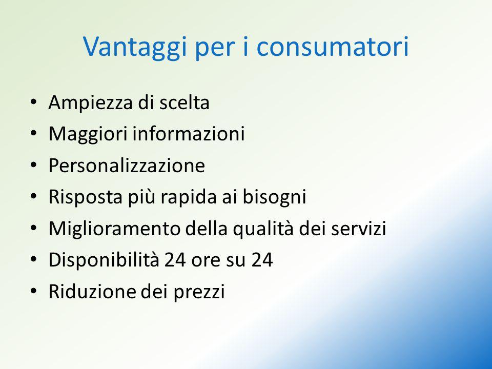 Vantaggi per i consumatori Ampiezza di scelta Maggiori informazioni Personalizzazione Risposta più rapida ai bisogni Miglioramento della qualità dei servizi Disponibilità 24 ore su 24 Riduzione dei prezzi