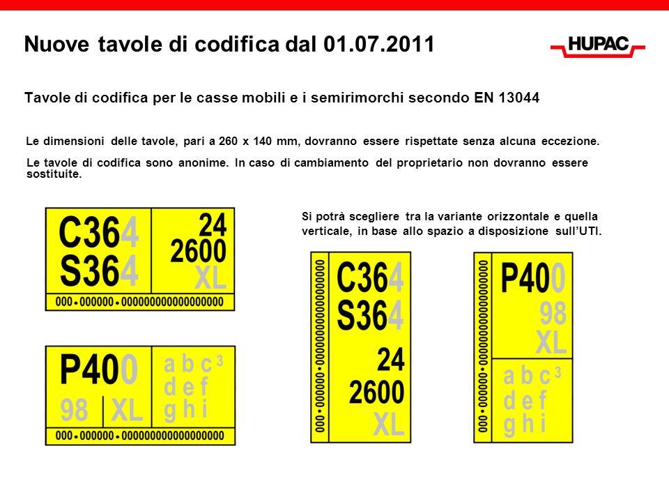 Nuove tavole di codifica dal 01.07.2011 Tavole di codifica per le casse mobili e i semirimorchi secondo EN 13044 Le dimensioni delle tavole, pari a 260 x 140 mm, dovranno essere rispettate senza alcuna eccezione.