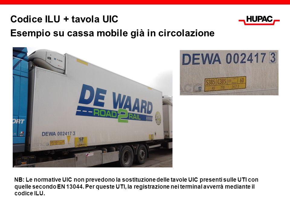 Codice ILU + tavola UIC Esempio su cassa mobile già in circolazione NB: Le normative UIC non prevedono la sostituzione delle tavole UIC presenti sulle UTI con quelle secondo EN 13044.