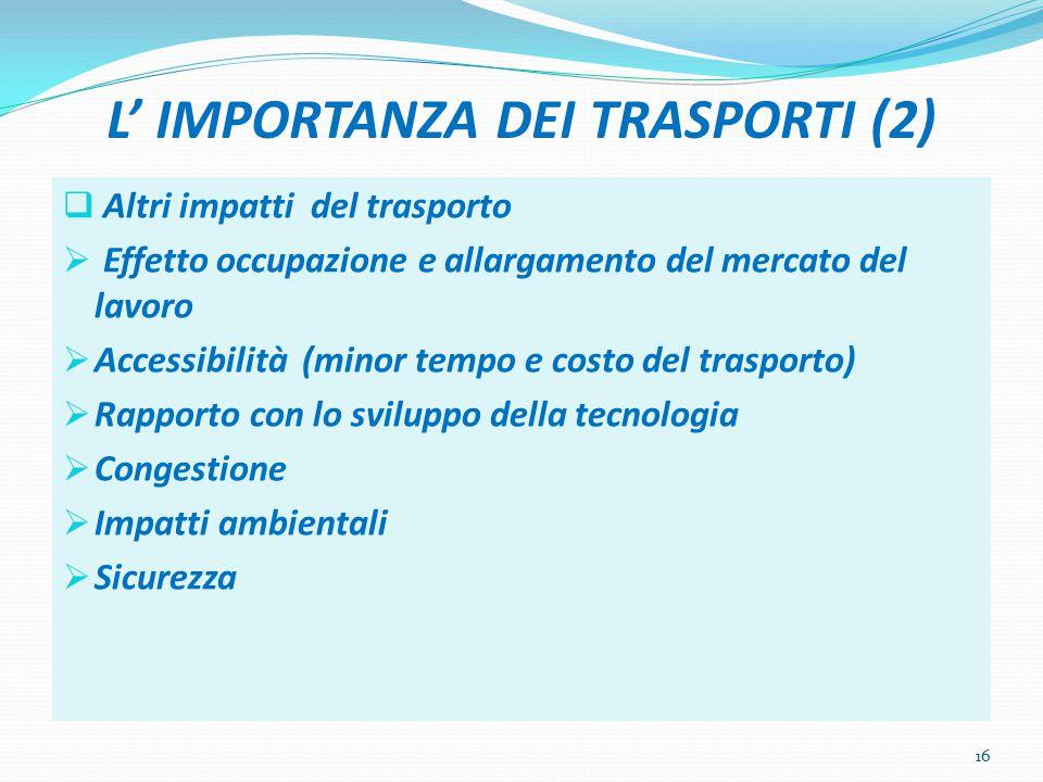 L' IMPORTANZA DEI TRASPORTI (2)  Altri impatti del trasporto  Effetto occupazione e allargamento del mercato del lavoro  Accessibilità (minor tempo e costo del trasporto)  Rapporto con lo sviluppo della tecnologia  Congestione  Impatti ambientali  Sicurezza 16