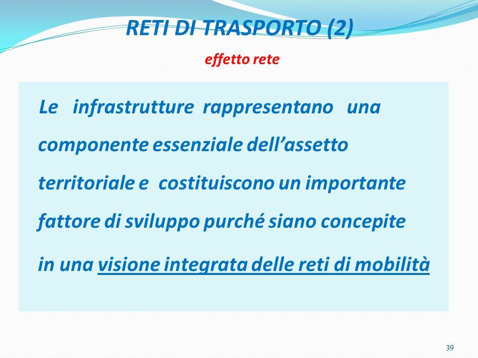 RETI DI TRASPORTO (2) effetto rete Le infrastrutture rappresentano una componente essenziale dell'assetto territoriale e costituiscono un importante fattore di sviluppo purché siano concepite in una visione integrata delle reti di mobilità 39