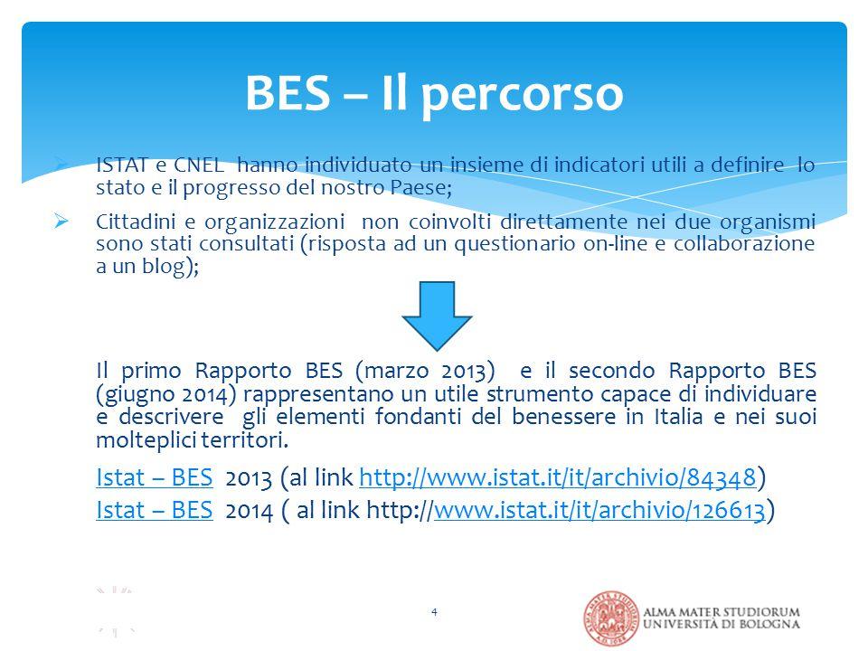 BES – Il percorso 4  ISTAT e CNEL hanno individuato un insieme di indicatori utili a definire lo stato e il progresso del nostro Paese;  Cittadini e