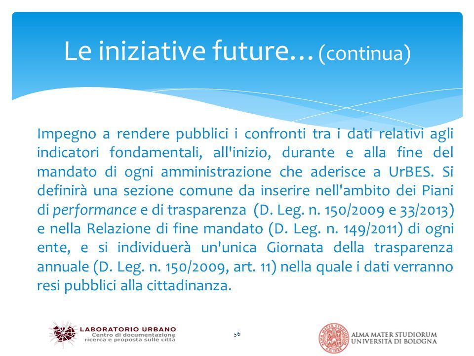 Le iniziative future… (continua) 56 Impegno a rendere pubblici i confronti tra i dati relativi agli indicatori fondamentali, all inizio, durante e alla fine del mandato di ogni amministrazione che aderisce a UrBES.
