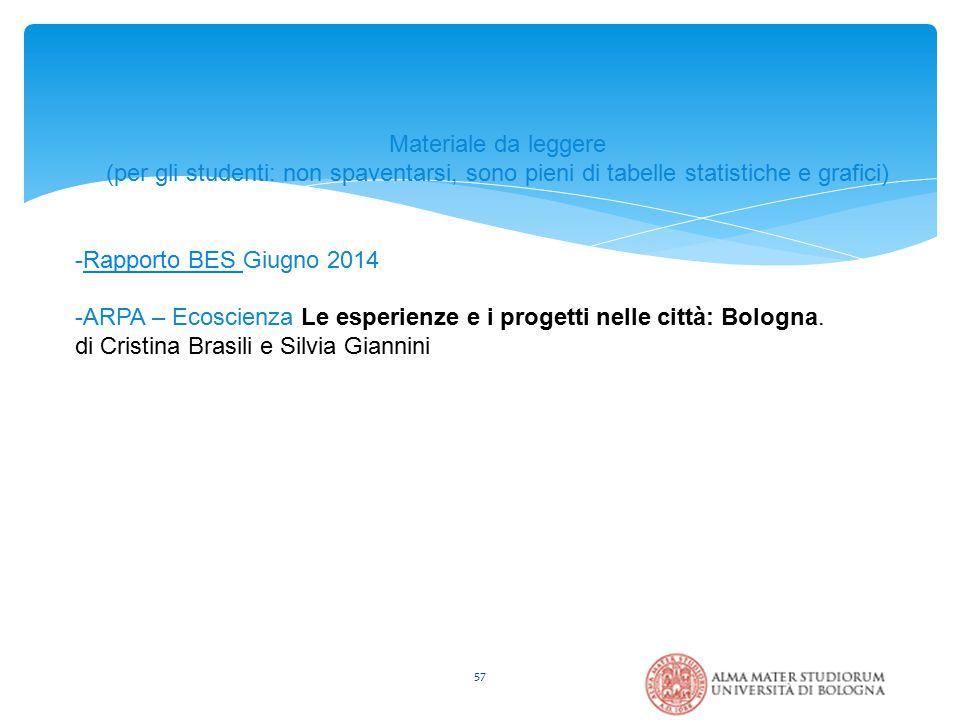 57 Materiale da leggere (per gli studenti: non spaventarsi, sono pieni di tabelle statistiche e grafici) -Rapporto BES Giugno 2014Rapporto BES -ARPA – Ecoscienza Le esperienze e i progetti nelle città: Bologna.