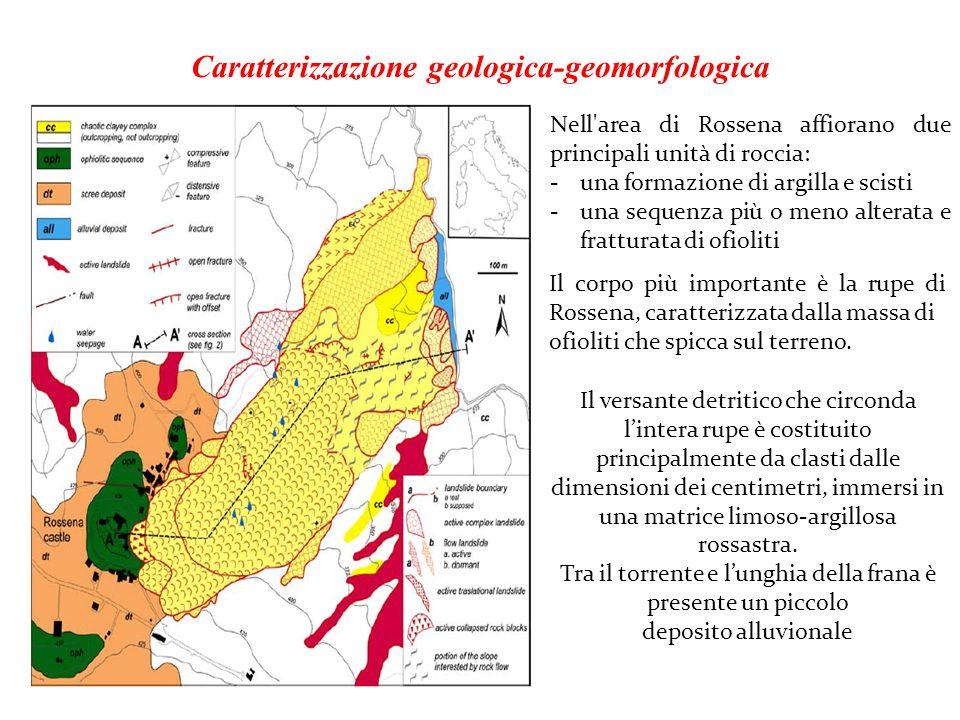 Caratterizzazione geologica-geomorfologica Nell'area di Rossena affiorano due principali unità di roccia: -una formazione di argilla e scisti -una seq