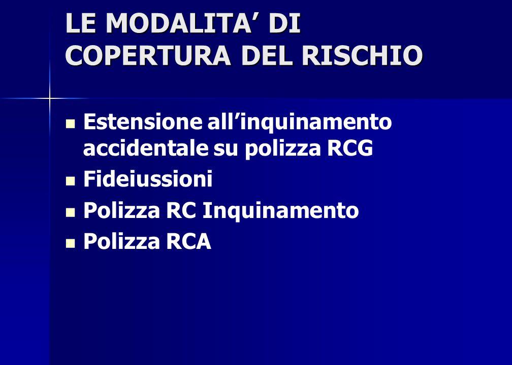 LE MODALITA' DI COPERTURA DEL RISCHIO Estensione all'inquinamento accidentale su polizza RCG Fideiussioni Polizza RC Inquinamento Polizza RCA