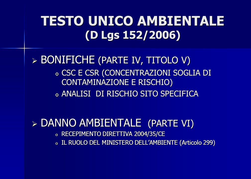 TESTO UNICO AMBIENTALE (D Lgs 152/2006)  BONIFICHE (PARTE IV, TITOLO V) o CSC E CSR (CONCENTRAZIONI SOGLIA DI CONTAMINAZIONE E RISCHIO) o ANALISI DI