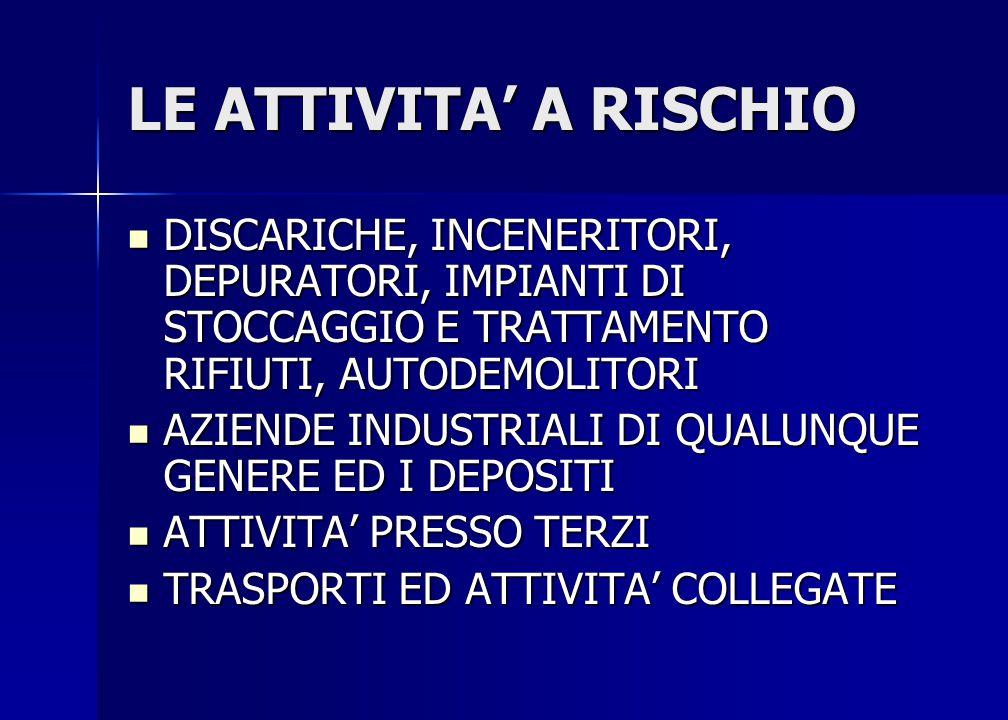 LE ATTIVITA' A RISCHIO DISCARICHE, INCENERITORI, DEPURATORI, IMPIANTI DI STOCCAGGIO E TRATTAMENTO RIFIUTI, AUTODEMOLITORI DISCARICHE, INCENERITORI, DE