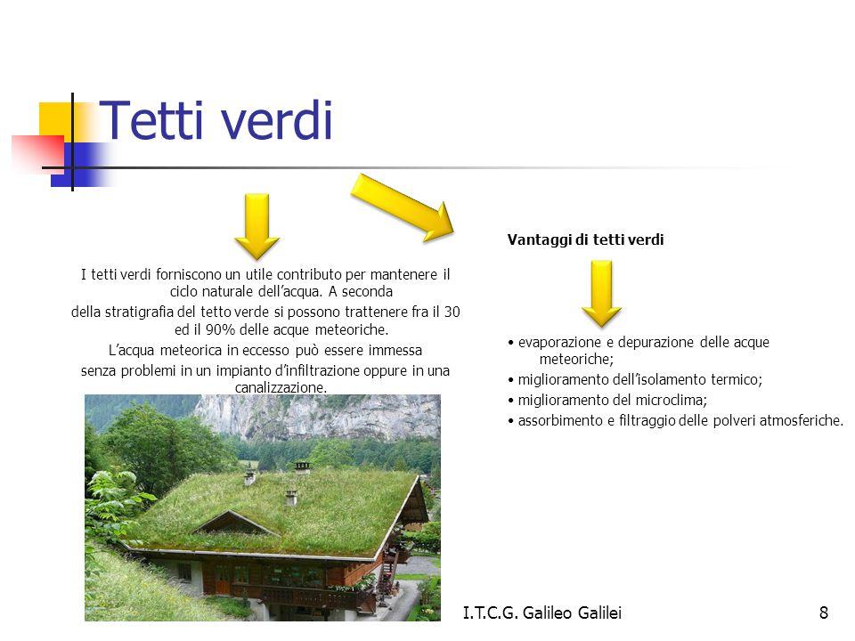 Tetti verdi I tetti verdi forniscono un utile contributo per mantenere il ciclo naturale dell'acqua. A seconda della stratigrafia del tetto verde si p