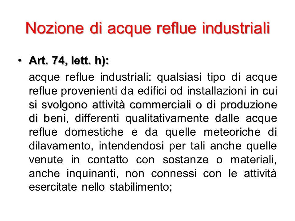 Nozione di acque reflue industriali Art. 74, lett.