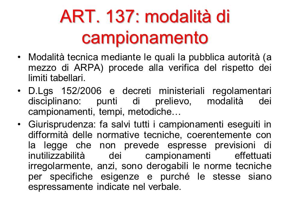 ART. 137: modalità di campionamento Modalità tecnica mediante le quali la pubblica autorità (a mezzo di ARPA) procede alla verifica del rispetto dei l